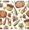 Wine vintage hand drawn seamless pattern vector image