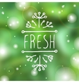 Fresh - product label on blurred background vector image
