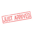 Just Arrived red rubber stamp on white vector image