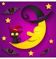 Halloween background with moon in the orange sky vector image