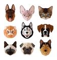 Pets portrait flat icon set vector image