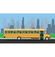 school bus with yellow color and city background vector image