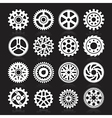 Set of gear icons on black background vector image