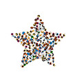 a group of people in a shape of a star vector image