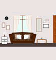 classic living room with brown sofa interior vector image