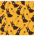 bunny and carrit silhouette issolated over orange  vector image