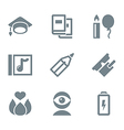 icon set education and science gray vector image