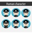 set men European character police officer vector image