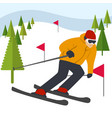 mountain skier slides from mountain vector image