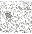Winteer doodle elements seamless patternBlack vector image