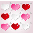 white red and pink valentine hearths with arrow vector image