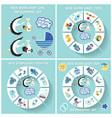 New born baby boy circle infographic set vector image