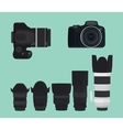 slr dslr camera collection with lens vector image