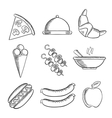Food icons set in sketch style vector image