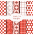 Set of geometric red seamless pattern with squares vector image