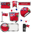 glossy icons with flag of province manitoba vector image