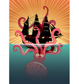Sea monster and sailing ship vector image vector image