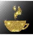 Gold Glitter Sparkle Cup of Coffee with vector image