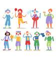 cartoon clown character funny circus man clownery vector image