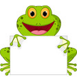 happy frog cartoon with sign vector image