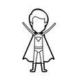 monochrome thick contour of standing faceless guy vector image