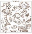 seafood and fresh fish sketch icons set for vector image