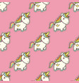 seamless pattern with unicorn in kawaii japanese vector image