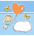 Happy girl with heart balloon vector