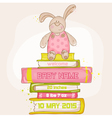 Baby Bunny Shower or Arrival Card vector image