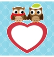 owls love card vector image vector image