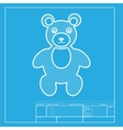 Teddy bear sign  White section of vector image