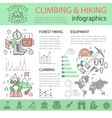 Climbing And Hiking Linear Infographics vector image
