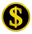 Dollar button vector image