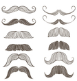 Hand Drawn Set of Mustache vector image