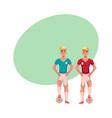 handsome blond soccer player in uniform standing vector image