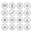 set round line icons of business vector image