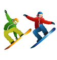 Snowboarders isolated vector image
