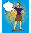 Woman standing in confident position retro comic vector image