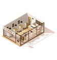 isometric low poly coffee shop vector image vector image
