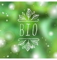 Bio - product label on blurred background vector image