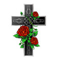 cross with ornament and roses vector image