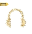 Gold glitter icon of headphone isolated on vector image