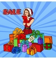 Pop Art Woman in Santa Hat on Christmas vector image