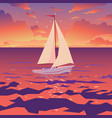 white boat with sail and red flag sunset on vector image