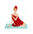 Young woman sitting in red towel after bathing vector image