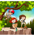 Kids hiking up the mountain vector image