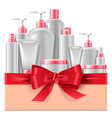 cosmetic packaging with red bow vector image