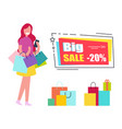 big sale voucher with woman and shopping bags