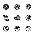 black globe icons set vector image