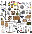 Marine hand painted symbols vector image vector image